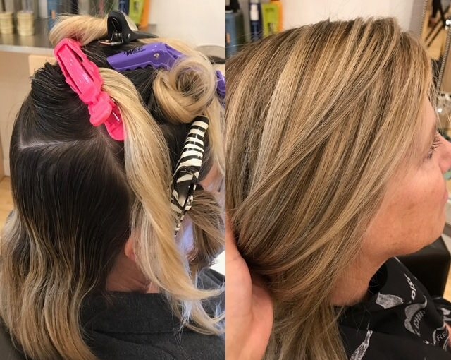 Partial highlight lowlight haircut style toner